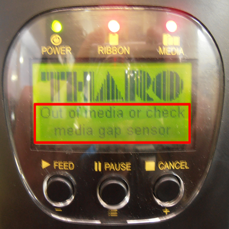 Out of media label printer error