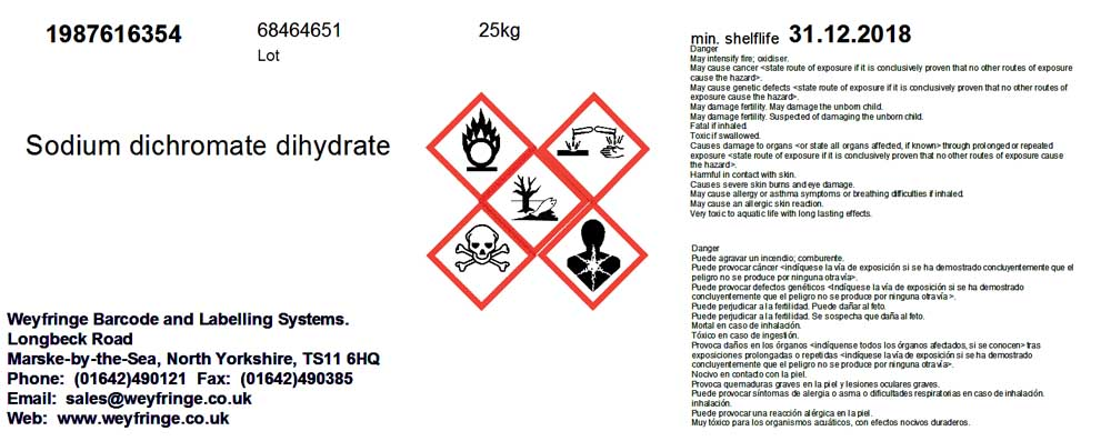 Hazard and chemical labels (red diamond labels)